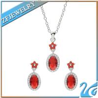 fashion garnet jewelry set rhodium plated avon jewelry sets