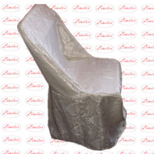 Polyester jacquard floral pattern folding chair cover for banquet wedding hotel outdoor use