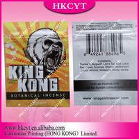 Hot sell king kong 3g aluminum foil plastic bag with ziplock / Custom printing herbal incense potpourri bag