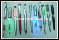led glowing pen , led ballpen with light , promotional led flashing pen . mulity funcation led ball pen
