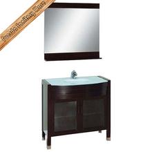 glass top solid wood bathroom vanity storage