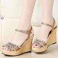 2014 nuevo diseño con estilo las mujeres zapatos de tacón alto de fantasía pantalones vaqueros de la cuña zapatos de última sandalias de las señoras diseños