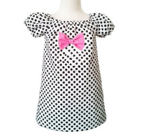 yiwu kid clothes firm Girls Minnie dress white and black dots, boutique style, tunic toddlers, sundress, custom with pink bow