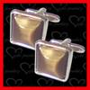Custom brass metal high end cufflinks with cat eye stone