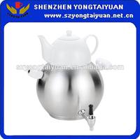Iranian tea pot samvore porcelain tea pot with stainless steel heater turkish tea pot