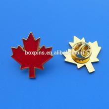 soft enamel maple leaf shape lapel pins with butterfly