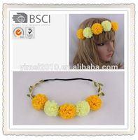 yellow flower headband charming,hair bun accessories