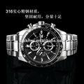 hombres de moda japón movimiento cronógrafo de cuarzo negro dial de plata de acero inoxidable reloj de pulsera