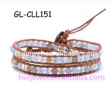 cracked crystal bead bracelet leather cord wrap bracelet