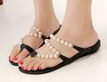 2015 sapatas das mulheres sapatas das senhoras pérolas sapatos chinelo sandália de verão chinelos