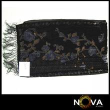 Famous Brand Black Velvet Shawl With Fringes