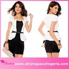2014 Wholesale Cap-sleeves baju kurung peplum dress white