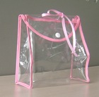 clear soft stand-up shiny pvc handle cosmetic bag with button