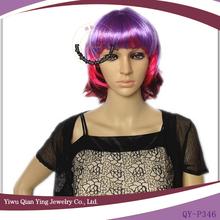 multi color short party wigs theme