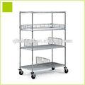 Nsf& iso aprovado heavy duty chrome fio móvel 4 prateleira estantes modulares com rodízios carrinho rack