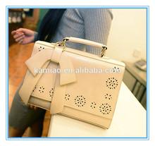 2014 fashion vintage cheap ladies beige faux leather shoulder bags big bow handbags imitation wholesale