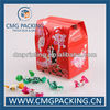 Red color wedding candy paper box with handle