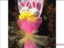 2Pcs Cute And Lovely Plush Rabbits And 2Pcs Roses