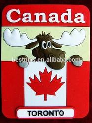 Canada Toronto 3D Moose Rubber Magnet, Canadian Souvenir Fridge Magnet