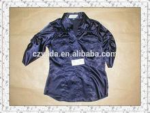 Alta moda cor azul marinho de cetim 3/4 blusas de manga para as mulheres