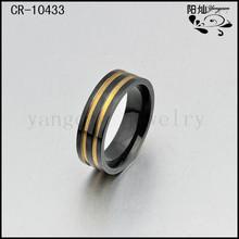 Wholesale fashion men's band gold black titanium wedding ring