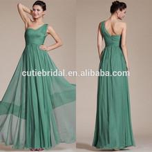 Princess 2014 Sleeveless Floor Length A-line Zipper Simple Pleated Long Chiffon Green One Shoulder Prom Dress