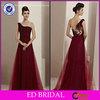 Fancy OEM Service A-line One-shoulder Illusion Back Floor Length Wine Red Evening Dresses ED-YH275