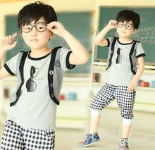Kids Boys Children's Suit Set Glasses Pattern False Two-piece Short Sleeve T-Shirt + Pants 17924