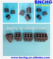 dark black wago 6-conductor terminal block with conductive paste