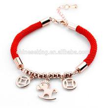 new design gold horse bracelet fashion friendship cord bracelet best women jewelry gift