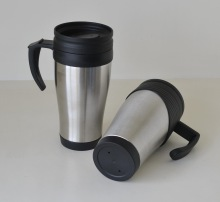 Wide mouth double walled travel coffee mug