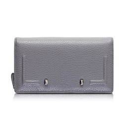 Fani grey flap leather women wallet/ Calf-skin leather wallet/ Silver hardware elegant wallet