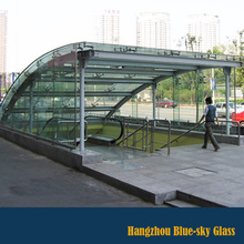 Canopy laminated glass for subway station