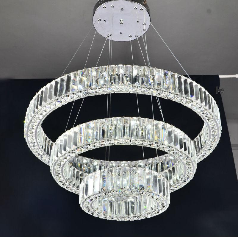 Tre anelli- di lusso moderno lampadario di cristallo illuminazione a ...