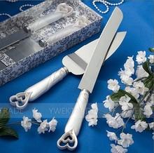 2014 Hot Selling New Style Interlocking Hearts Design Cake Knife/Server Set