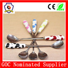 wholesale baby soup spoon, small spoon with colorful handle, newborn baby spoon (HH-spoon-121)
