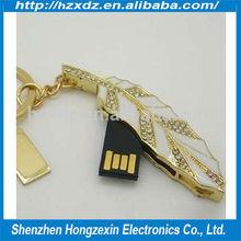 Leaf usb flash stick, 4GB jewelry metal usb flash stick, Crystal leaves jewelry 4gb jewelry usb flash drive