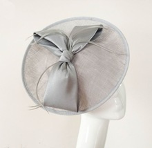 Silver big disc sinamay fascinator