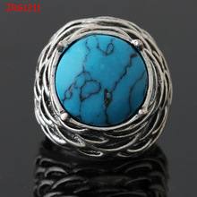 factory direct sale fashion simple alloy vintage turquoise ring
