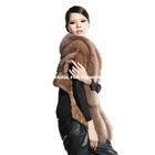 mk14617 brown mink fur vest with fox collar