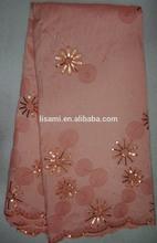 Orange color litter sequin flower Indian Fabric Silk african fabric CL4061-1 peach