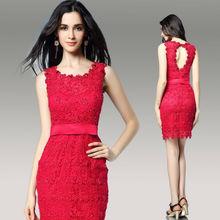 DORISQUEEN Drop ship new arrivals 2014 knee length online shopping crystal Red short sexy red hot women party dress