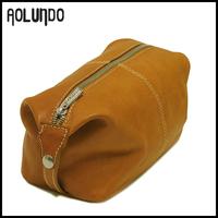 Cheap price wholesale light brown genuine leather womens toilet bag WA15013