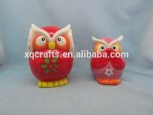 Color rojo búho de cerámica para el jardín decoración