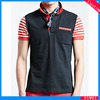 Cheap High Quality Striped Wholesale Polo Shirts Black with Orange