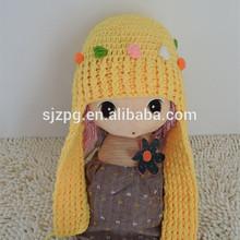 Yellow crochet beanie hat