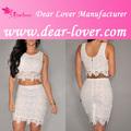 elegante blanco de encaje sexy joven falda de la mujer