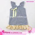 Las ventas caliente! De alta calidad de lactantes y niños pequeños de bebé de algodón niñas chevron vestido de campesino