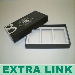 Black Clothing Tie Paperboard Box With Top And Bottom Lid Plastic Tray Inlay Packing Box