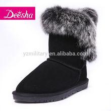 Austraian half genuine leather fox fur comfortable felt footbed classic girls snow boots